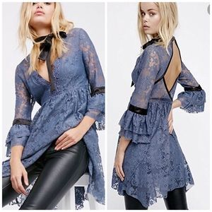 Free People Blue Lace Guilded Dress xS